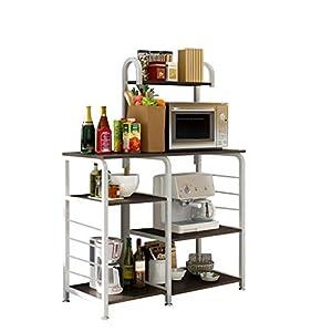 GoodLock(TM) Hot!!Multifunctional Kitchen Rack Microwave Oven Floor Shelf Storage Storage Cupboard 3-Tier Cupboard Baker's Rack Table for Spice Rack Organizer Workstation (Black)