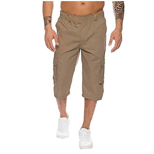 - Mens Cargo Button Cotton Pocket Overalls Shorts Work Trousers Pants Khaki