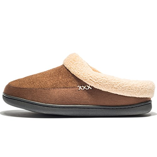 Newdenber Ndb Uomo Caldo Memory Foam Camoscio Peluche Shearling Foderato Slip On Indoor Outdoor Clog House Pantofole N-dark Brown