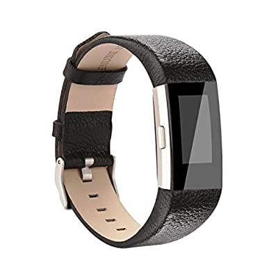 Vancle Fitbit Charge 2 Band,Luxury Genuine Leather Replacement Strap for Fit bit Charge 2(No Tracker)
