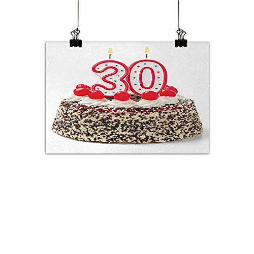 (Anzhutwelve 30th Birthday Living Room Decorative Painting Birthday Cake with Cherries on The Top and Burning Candles Number 30 Print Modern Minimalist Atmosphere Multicolor 31