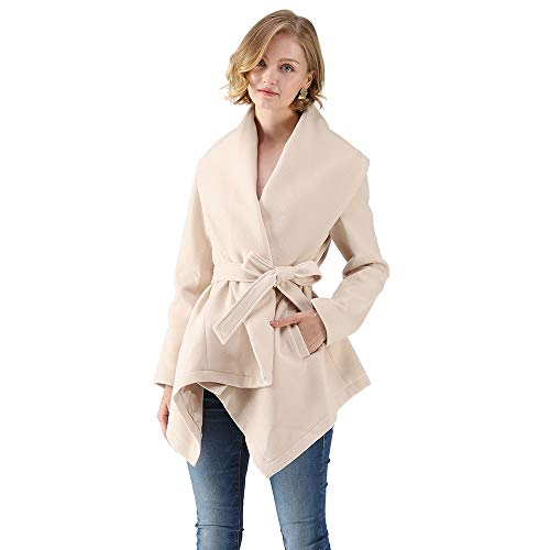 Chicwish Women's Turn Down Shawl Collar Open Front Long Sleeve Cream Asymmetric Hemline Wool Blend Coat by Chicwish