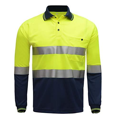 Hogear High Visibility Patchwork Polo Long Sleeve Tshirt(Lime/Navy),XL
