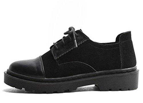Noir Lacets Cuir Antidérapantes Chaussures Femme JRenok Ville Beige Vintage de Style Mode Noir Casual à Brogues Derbies d6Xqd81W