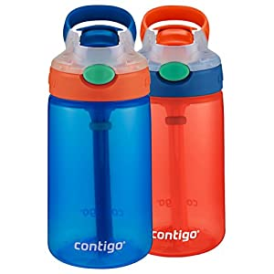 Contigo Kids Gizmo Flip Water Bottles, 14oz, French Blue/Coral, 2-Pack