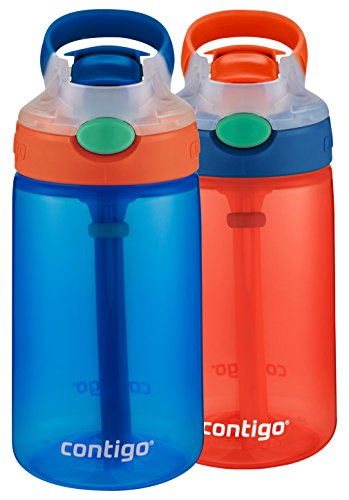2 Pack Sport Bottles - Contigo Kids Gizmo Flip Water Bottles, 14oz, French Blue/Coral, 2-Pack