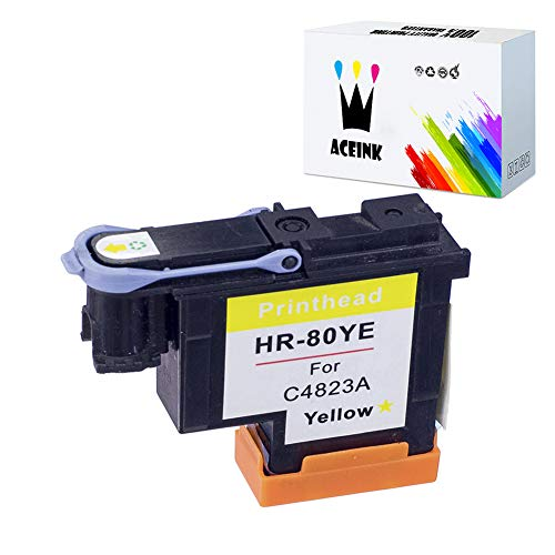 AceInk 1 Pack HP 80 Yellow Printhead with Latest Chips C4823A Compatible for HP DesignJet 1050c 1050c Plus 1055C 1055cm 1055cm Plus