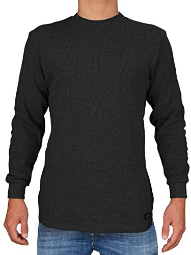 Knocker Men's Heavy Weight Waffle Pattern Thermal Shirt (Black, Large)