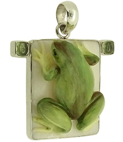 Sterling Silver Frog Pendant - Soul Jewelry Charming Balinese Frog Peridot 925 Sterling Silver Pendant