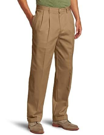 IZOD Men's American Chino Pleated Pant, English Khaki, 29W x 30L