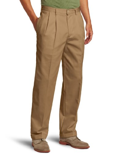IZOD Men's American Chino Pleated Pant, English Khaki, 36W x 30L