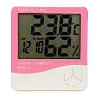 TopEUR Digital LCD Temperature Humidity Meter Electronic Indoor Hygrometer Thermometer Monitor for Home Kitchen Greenhouse with Accurate Readings - Pink
