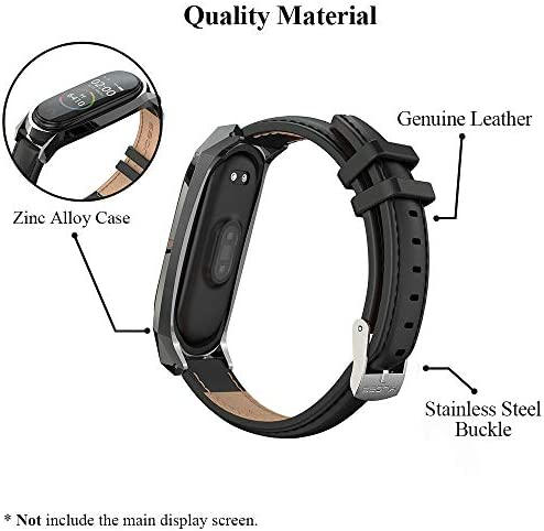 Mijobs Compatible Xiaomi Mi Band 3, Genuine Leather Replacement Strap Breathable Wristband with Metal Frame Bracelet Accessories for Xiaomi Mi Band 4 Smart Watch Bracelet (Classic Black) 2