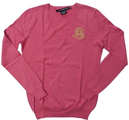 Ralph Lauren Sport Women Pima Cotton V-neck Sweater (L Dark Pink)