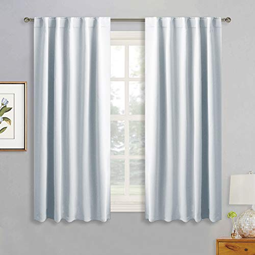 RYB HOME White Curtains for Bedroom, Room Darkening Drapes for Kitchen Window, Insulated Energy Saving Panels for Living Room, Back Tab & Rod Pocket Top, 42 x 45 inch, Grayish White, One Pair
