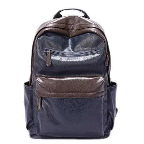 - Vintage Men Backpacks PU Leather School Bags Teenager Casual Laptop Travel Shoulder Bags Oil Wax Leather Backpack