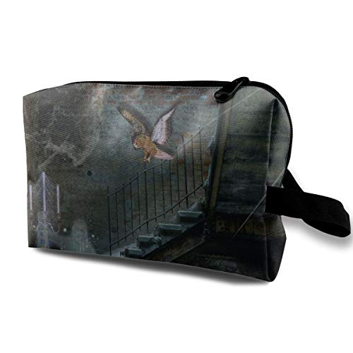 Halloween Magic Stove Stairs Spider Web Owl Multi-function Travel Makeup Toiletry Coin Bag Case ()