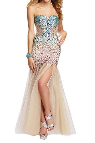 Promkleid Champagner Abendkleid Steine Damen Ausschnitt Festkleid Stil Ivydressing Merjungfrau Mondern Tuell Herz 6SnwRP8