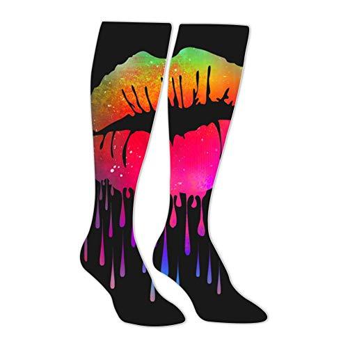 Long Stockings Lips Like Sugar Tube Knee High Socks Athletic Sports Leggings Exercise Socks for Man Women