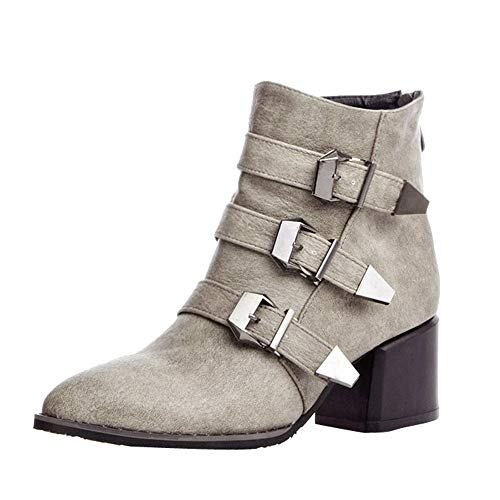 Seaintheson Boots for Women with Heel, Women's Fashion Belt Buckle High Heel Ankle Booties Back Zipper Sexy Party Bare Shoes Grey (Horsebit Buckle Belt)