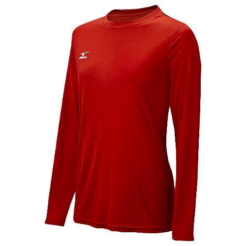 Mizuno Womens Long Sleeve Hybrid Top Red