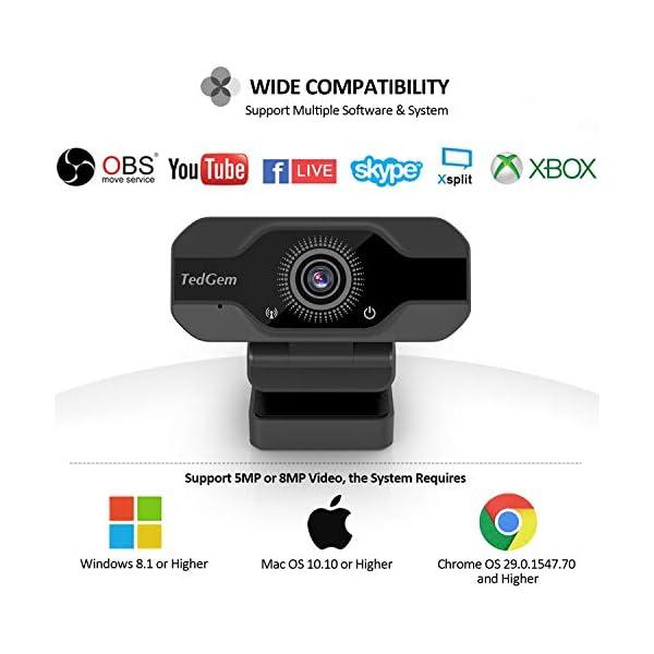 TedGem Webcam, Full HD 4K/1080P PC Webcam Camera con Microfono USB Live Streaming Webcam per Videochiamate e… 6 spesavip