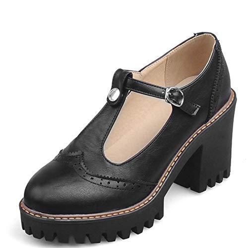 (Vimisaoi Women's Classic T-Strap Mary Janes Cutout Oxfords Shoes, Platform Block Mid-Heel Square Toe Bow Dress Pumps Brogue Shoes)