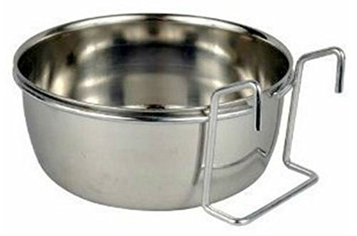 STAINLESS STEEL Cage Coop Cup Bird Cat Dog Puppy Crate Food Water Bowl w. Hanger (30 oz / 4 cups)