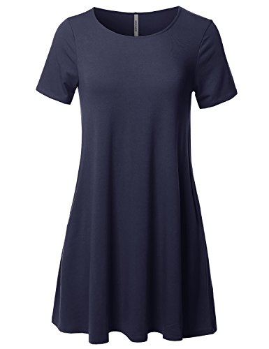 Solid Round Neck Short Sleeves Dress With Side Pocket Navy L