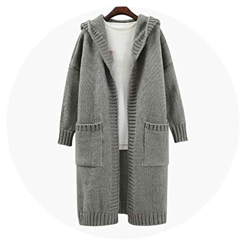 Qounfhy Women Sweater Autumn Winter Long Knitted Cardigan Warm Pull Sleeve Crochet Hooded,Gray,One Size