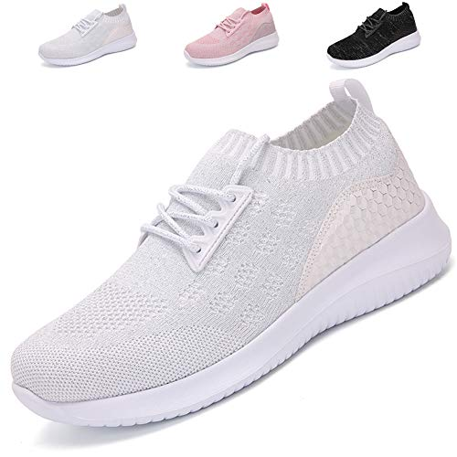 AoSiFu Women's Lightweight Walking Shoes Breathable Sneakers Mesh Tennis Shoes for Women B-White39 ()
