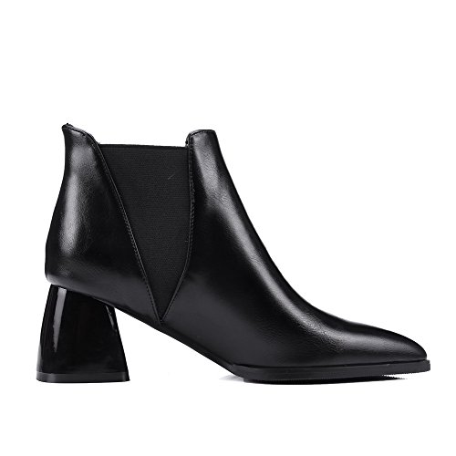 Closed Women's Kitten Solid Soft Allhqfashion Boots Pointed Low Heels Toe Black Material Top qEvZZdpO