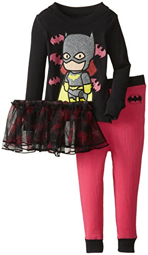 DC Comics Girls 'Batman Batgirl Scribblenaut Pink Princess' Cotton Costume Pajama Set , Black, (5t Batman Costumes)