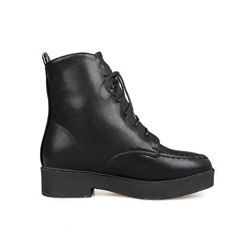 AllhqFashion Damen Gemischte Farbe PU Leder Niedriger Absatz Schnüren Rund Zehe Stiefel, Rot, 41