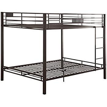 Amazon.com: ACME Kaleb Sandy Black Queen over Queen Bunk Bed ...