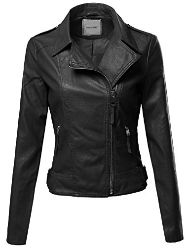 Awesome21 Classic Biker Jacket Various Colors Black Size M (Jean Biker Jacket)