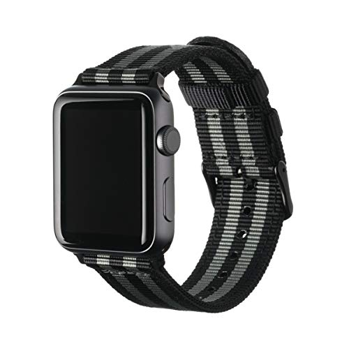 Archer Watch Straps | Premium Nylon Replacement Bands for Apple Watch (Black/Gray, Black, 42mm) ()