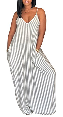 al Stripe Long Maxi Dresses with Pockets Spaghetti Strap Sleeveless Loose Beach Sundress ()