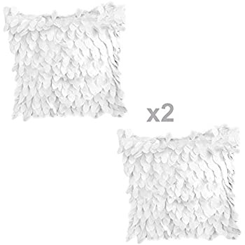 womhope 2 pack 3d solid satin flower leaves square throw covers pillowcase bed sofa couch