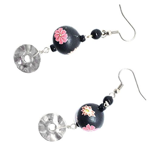 Vintage 1980s Floral Polymer Clay Beads Wavy Disk Earrings
