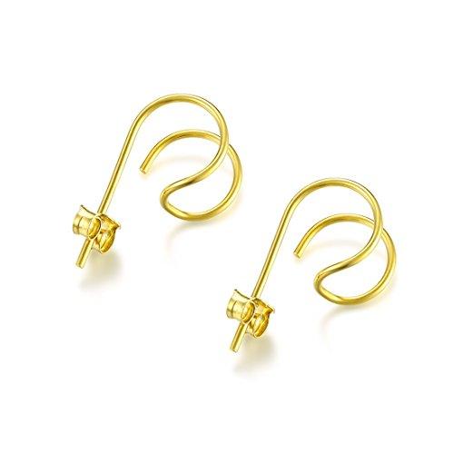 Hoop Silver Stud - DOMILINA Minimalist Sterling Silver Hoop Hook Stud Earrings (Gold)