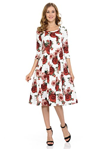 Trapeze Dress Floral - Pastel by Vivienne Women's A-Line Trapeze Midi Dress Large Floral Ivory