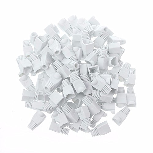 - GFORTUN 100pcs RJ45 Cat6 Cat5E Ethernet Cable Snagless End Boots Cap Connector Cover Modular (White)