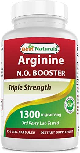 Best Naturals L-Arginine NO Booster Triple Strength 1300 mg Serving 120 Veg Capsules