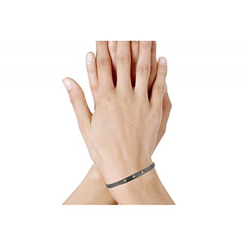 Les Poulettes Bijoux - V Bracelet Argent Noir 3 Etoiles