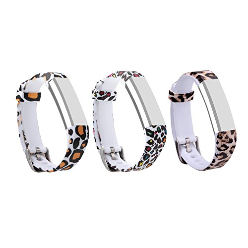 Leopard Wristband (I-SMILE 3PCS Newest Replacement Wristband With Secure Clasps for Fitbit Alta Only(No tracker, Replacement Bands Only) (3pcs leopard prints))