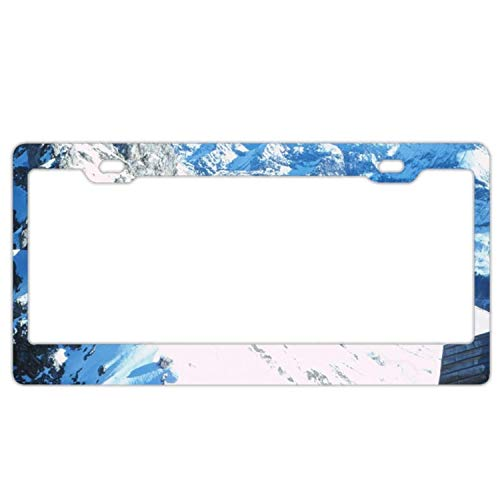 MaolinLicensF Rocky Snow Mountain Peak License Plate Frame Humor and Funny Car Tag Frame Auto License Plate Holder 2 Hole and Screws