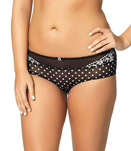 Paramour by Felina Women's Sweet Revenge Hipster Panty, Black/Ivory Dot, Large