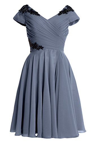 Sleeve Blue Cocktail of Bride Mother Formal Gown Elegant Steel MACloth Cap Short Dress wEq7XBA