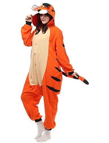 [Oneises Women Men's Animal Bengal Tiger Onesie Halloween Costume Pajamas Partywear Small] (Tiger Halloween Costumes)